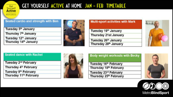 Get Yourself Active at Home  Jan - Feb  Timetable