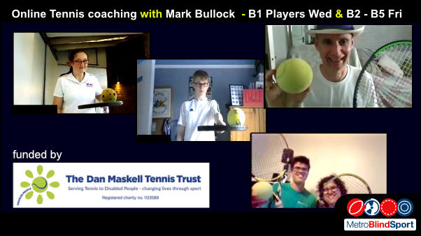 Photo of VI tennis players in Zoom with thier tennis racket and soundballs with Mark Bullock in panama hat smiling at the camera.