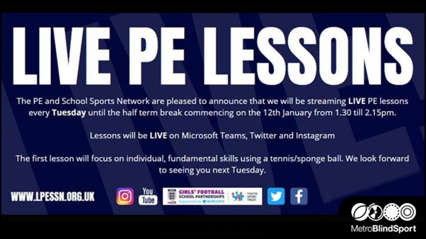 Live PE Lessons Tuesdays 1.30 pm to 2.15pm