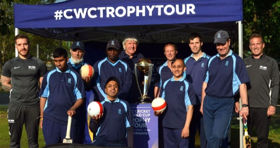 Metro Cricket Players and the ICC Cricket World Cup Trophy