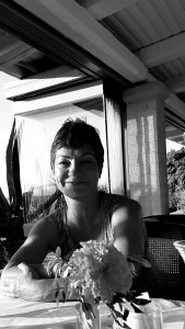 Black and white photo of Claire in Bali