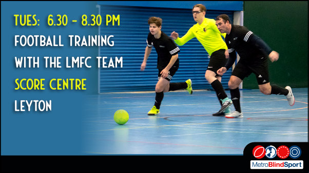 Two London Metro team players in black running for the ball against a player in yellow text says Tuesdays 6.30 to 8.30 pm Football training with the LMFC Team, Score Centre in Leyton