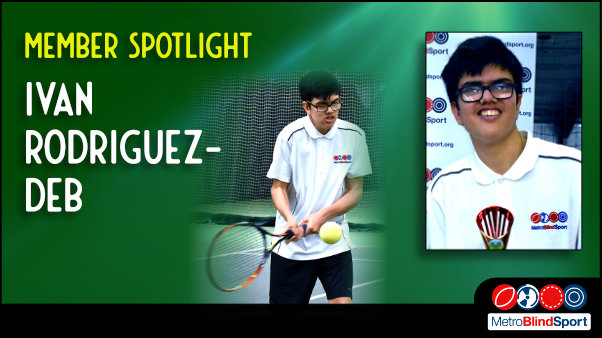 Photo of Ivan playing tennis in about to return the ball text says Member Spotlight on Ivan Rodriguez-Deb
