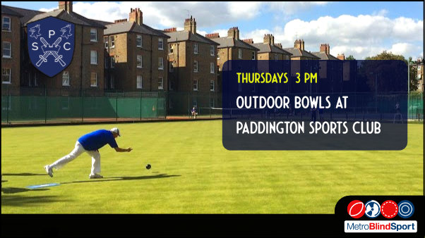 Photo of a bowler bowling outside on the green at the Paddington sports club - Text says Outdoor bowls at the Paddington sports club on Thursdays at 3 PM