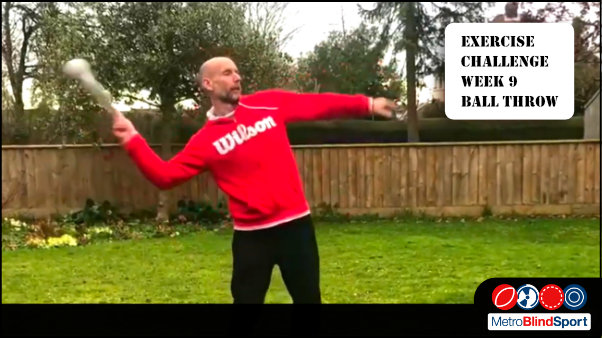 Photo of Mark Bullock swinging a soft foam soundball in a sock behind his head in a throwing motion text says - Exercise Challenge - Ball Throw with Mark Bullock