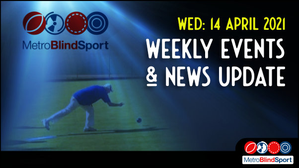 Metro Blind Sport logo with a blue tinted spotlight behind it and a faded image of of a bowler bowling outside on the green at the Paddington sports club and the text saying Wednesday 14 April Weekly Events & News Update!