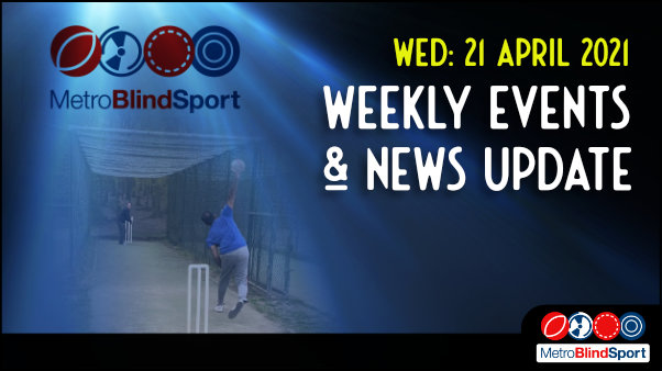 Metro Blind Sport logo with a blue tinted spotlight behind it and a faded image of a cricket player bowling into the nets, outside at Highgate Woods and the text saying Wednesday 21 April Weekly Events & News Update!