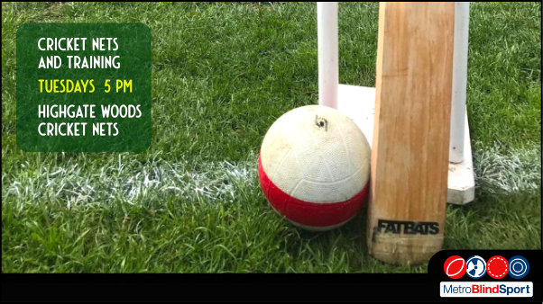 Close up of a cricket bat, a Wicket made from white pumbling tubes and on grass beside a Blind Cricket Soundball which is a Junior football with a bell inside it.Text says Metro Blind Sport cricket nets and training tuesdays 5 pm at Highgate Woods cricket nets
