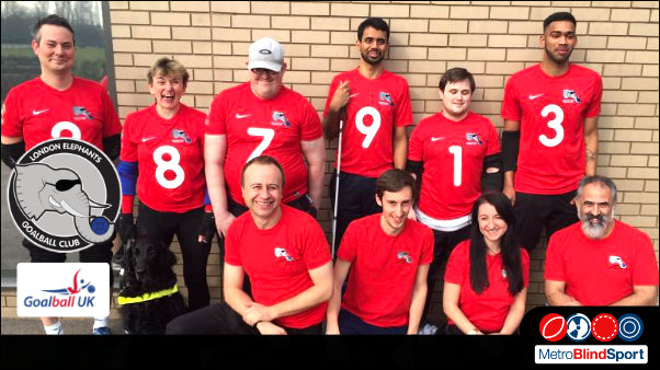Team Photo of the London Elephant Goalball team with GoalballUK coaches and a guide dog