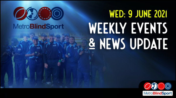 Metro Blind Sport logo with a blue tinted spotlight behind it and faded images of the Metro sport cricket team smiling and holding thier cup medals and the text saying Wednesday 9 June Weekly Events & News Update!