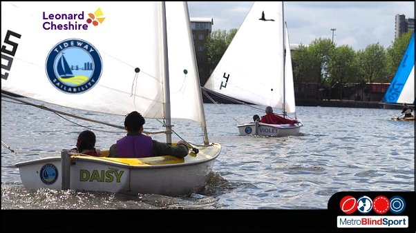 Photo of small sailing Boats from Tideaway Sailability on the Thames river with thier and Leonard Cheshire logoin the top left - Can Do Inclusive Sailing in Southwark