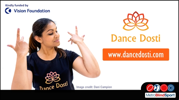 A head and sholders photo of a dance insructor holding her arms and hands in a Bollywood style also there is a Dance Dosti and Vision Foundation Logo and the text says www.dancedosti.com