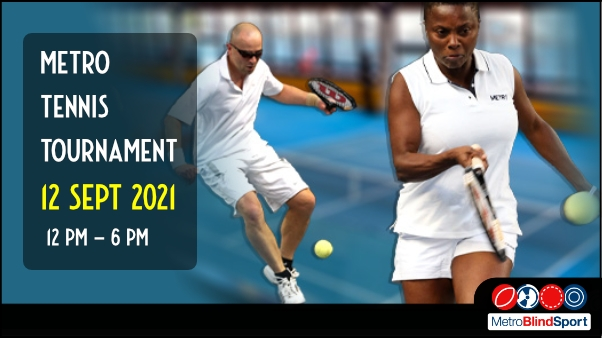 Photo of two tennis players returning the ball text says Metro Tennis Tournament 12 September 2021