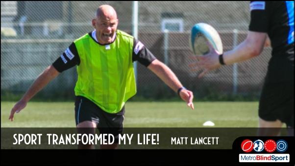 Photo of Matt kancett charging toward a player to tackle him in a game of VI Rugby - Sport transformed my life! - Matt Lancett