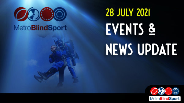 Metro Blind Sport logo with a blue tinted spotlight behind it and faded images of the Chris Lewis and steve the instructor just about to land from thier tandem parachute jump and the text saying Events & News Update from Metro Blind Sport 28 July 2021