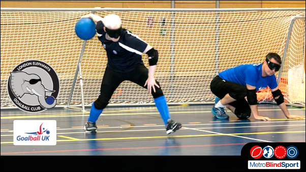 photo of a London Elephant Goalball team player throwing the ball from the goal area down the pitch