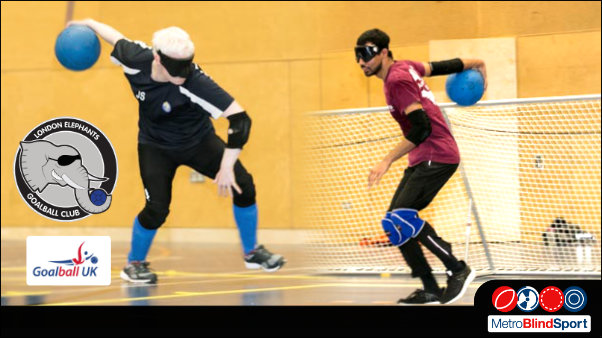 Photo that blends together two London Elephant Goalball team playersfacing each other about to throwing the ball