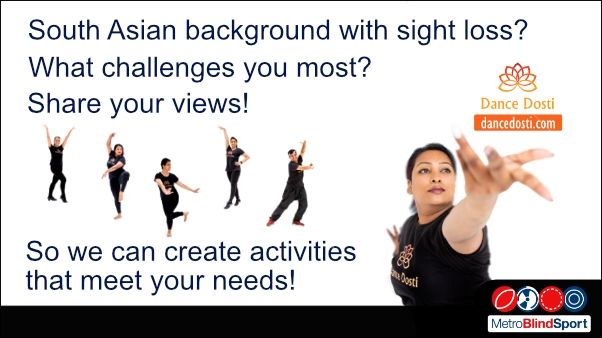 Photo of dance instuctors in black in six different dance poses and also one dance reaching up to the dance dosti logo top right The text says South Asian background with sight loss? what challenges you the most about getting active? please share you views, so we can create activities that meet your needs.