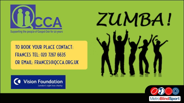 Silhouettes of a Zumba session on a green Background Text says to book your place call Francess on 020 7267 6635 or email Francis@qcca.org.uk