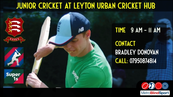 Photo of young cricketer about to hit the ball with Essex Cricket Club and Lord Taveners logo text says Junior Cricket at Leyton Urban Cricket Hub time 9am to 11 am contact Bradley Donovan Call 07950874814