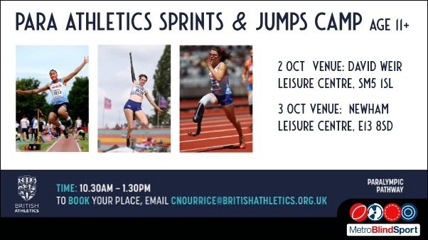 Photo of jumping and running at a para athletic event with the text saying Para Athletics Sprints & Jumps camp age 11 plus 2 and 3 October 2021 time 10:30-1:30 pm
