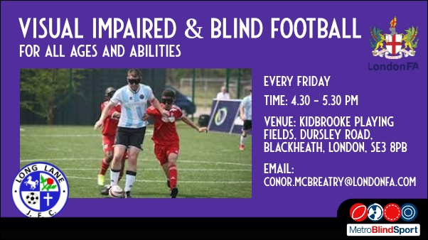 Photo of two football players in red on wither side trying to tackle a player in blue and white stripes text says Vision Impaired & Blind Football every friday 4.30 to 5.30 pm
