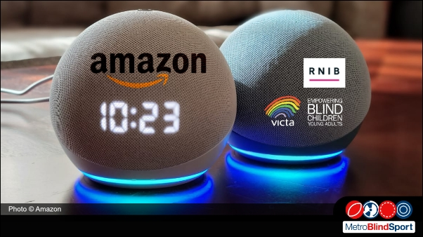Photo shows a Echo 4th gen with it blue light on, up against a mirror so it shows the front speaker in light grey with a clock on the front