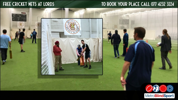 mage shows a wide sceen photo of metro cricket players at the Lords indoor nets with a inset photo close up photo of a batsman in the nets. Free Cricket Nets at Lords 2022