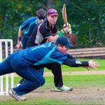 Rory Metro Team Captain dives for the catch in a T20 Match