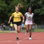 100m. Precious Ntumy-Kamara with guide runner