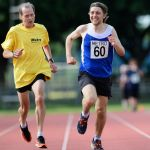 5000m. Tom Skelton with guide runner