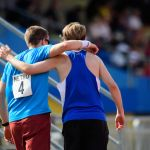 5000m. Rhys Jones, left, and Tom Skelton