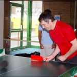 About to return a ball in Polybat - a VI table tennis game